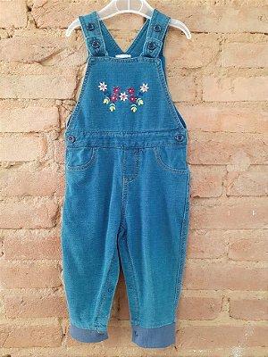 Jardineira Longa Azul com Flores Bordadas Baby Way