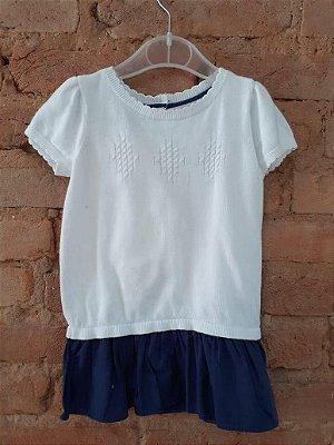 Vestido de Tricot Branco e Azul Marinho Tommy Hilfinger