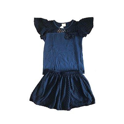Conjunto Azul Marinho Saia e Blusa Milon