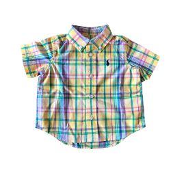 Camisa Xadrez Manga Curta Amarela Ralph Lauren