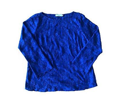 Camisa Manga Longa Azul Transparente Bordada Laney