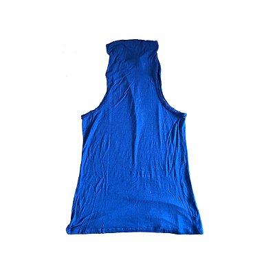Blusa Cavada Azul com Gola Santa Costura de Todos os Panos
