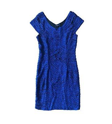 Vestido Bordado Azul e Preto Le Lis Blanc