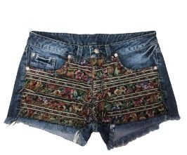 Shorts Jeans com Tecido na Frente Two In