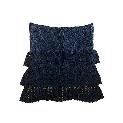 Saia Crochê Azul Marinho Bobô