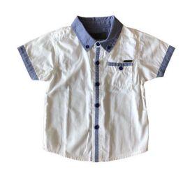Camisa Manga Curta Branca e Azul Jeans Tigor