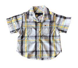 Camisa Xadrez Manga Curta Cinza, Branca e Amarela Tommy Hilfinger