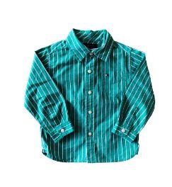 Camisa Social Listrada Verde e Branca Tommy Hilfinger