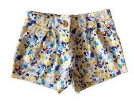 Shorts Branco com Flores Azuis e Amarelas Zara
