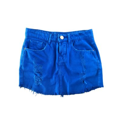 Saia Jeans Destroyed Azul Royal Lab