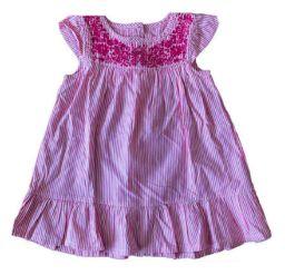 Vestido Rosa Listrado com Bordado Zara Baby