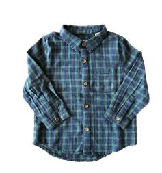 Camisa Xadrez Azul e Verde Zara Baby Boy