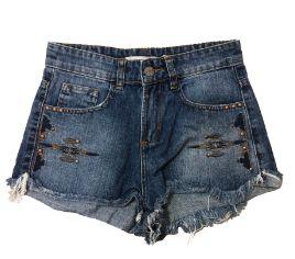 Shorts Jeans com Aplique Rosa Chá