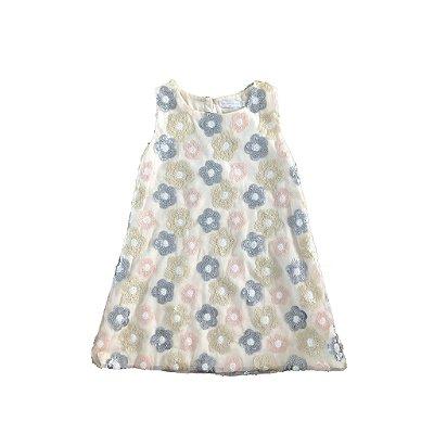 Vestido de Tule Bordado com Flores de Paetê DHUIF