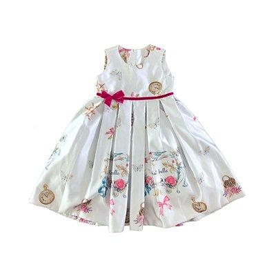 Vestido Festa Princesa  com Pingentes Estampado  Via Flora
