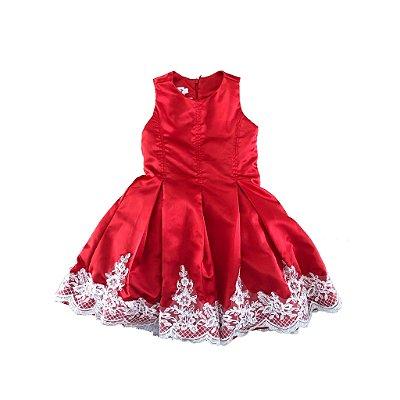 Vestido Festa Vermelho com Renda Via Flora