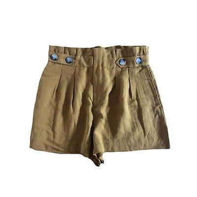 Shorts Clochard Mostarda com Elástico na Cintura Zara