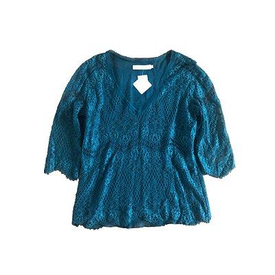 Blusa Verde de Renda Cris Barros