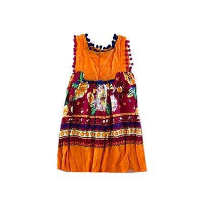 Vestido Laranja estampado com Apliques Camu Camu