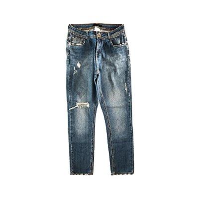Calça Jeans Reta Destroyed Cori