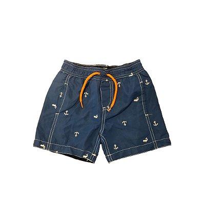 Shorts Carter's Infantil Azul com Baleias e âncoras Bordadas