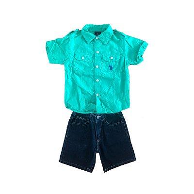 Conjunto Bermuda Jeans e Camisa Verde U.S. Polo