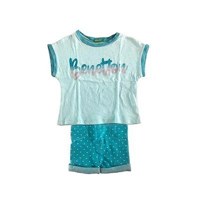 Conjunto Shorts e Blusa Azul Benetton