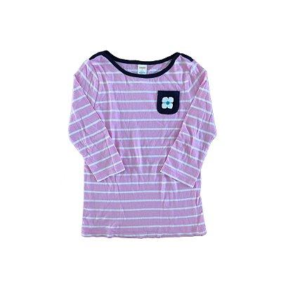 Camiseta Manga Longa Listrada Rosa e Branca Gymboree