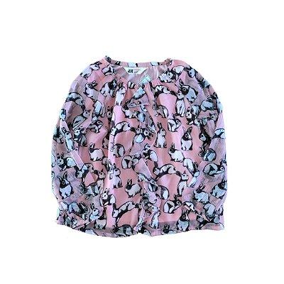 Blusa Rosa com Estampa Coelhos H&M