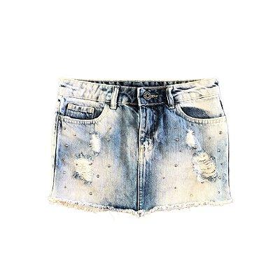 Saia Jeans com Aplique de Taxas Le Lis Petit