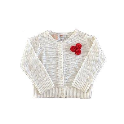 Casaco Tricot Branco com Aplique de Flor Gymboree