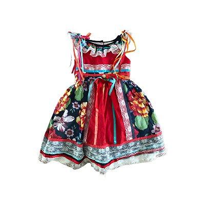 Vestido Festa Junina Longo Elaborado com Fitas e Saia com Tule Kopela