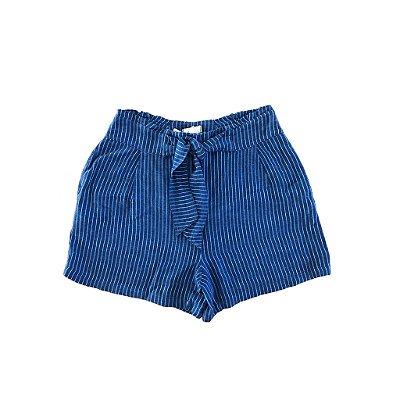 Shorts Azul Risca de Giz com Laço Frente Maria Nina