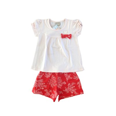 Conjunto Blusa Rosa e short Vermelho Estampa de Flores Milon
