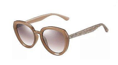 Óculos de Sol Marrom Claro com Brilhos Jimmy Choo