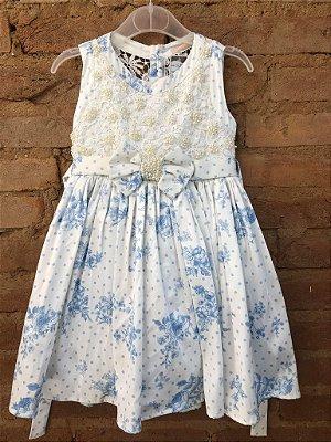 Vestido Azul e Branco com Pérolas Bordadas Petit Cherie