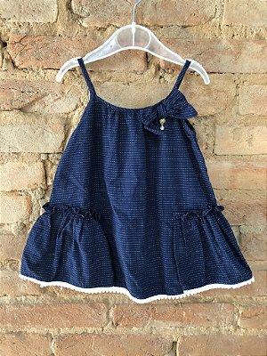 Vestido UM MAIS UM Infantil Listrado Azul Marinho