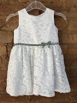 Vestido Carter's Infantil Branco Renda com Cinto Prateado
