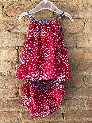 Vestido com Calcinha Vermelho com Flores Baby Gap