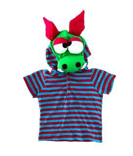 Camiseta Listrada com Capuz Dragão