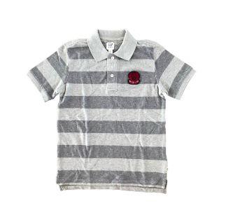 Camiseta Polo Listrada em Cinza