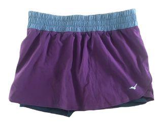 Shorts Saia Mizuno Feminino Cinza e Vinho Ginastica