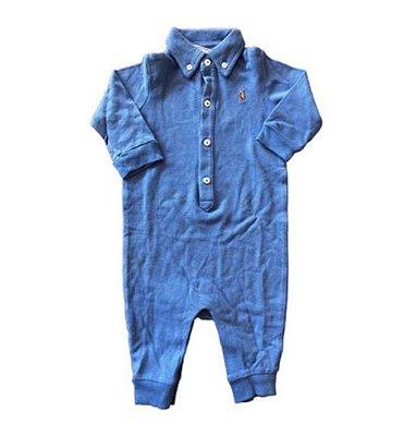 Macacão Ralph Lauren Infantil sem Pé Azul