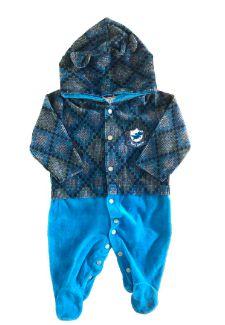 Macacão Tip Top Azul com Xadrez de Plush