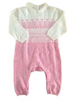 Macacão Baby Club  Rosa e Branco