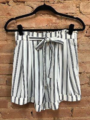 Shorts Zara Creme com Listras Azul e Prata