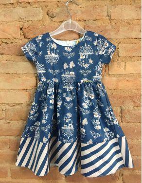 Vestido Infanti Infantil Azul com estampas de Panda (com Etiqueta)