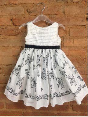 Vestido Kopela Infantil Branco com Flores Pretas