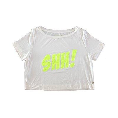 Camiseta MURAU Creme Shh! em Amarelo Limão (Cropped)