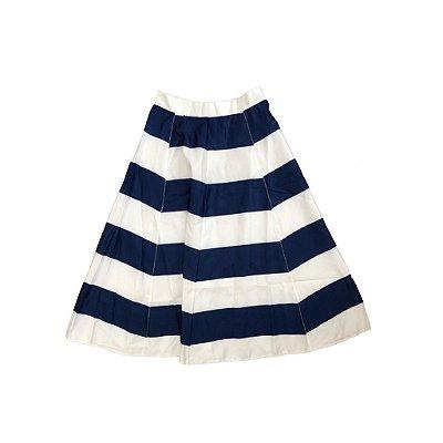 Saia Midi Foutensy Feminina Listrada Azul e Branca com etiqueta
